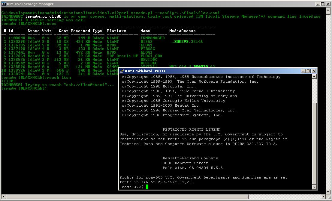 tsmadm pl - Tivoli Storage Manager command line ADMinistration tool v2